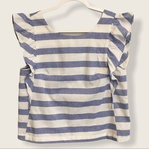 NWOT Buddy Basic ruffle striped sleeveless top M